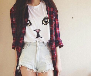 cat, girl, and perfect style image