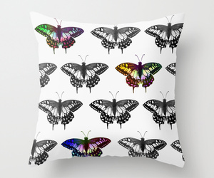 black and white, butterflies, and drawing image