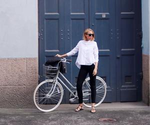 bike, girl, and fashion image