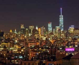 city lights, cityscape, and new york image