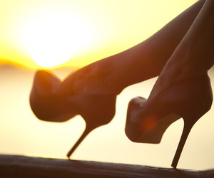 girl, heels, and sunset image