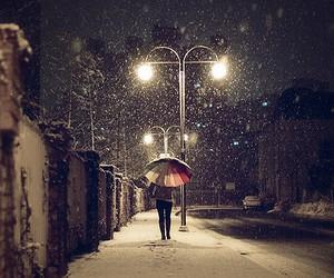 snow, umbrella, and winter image