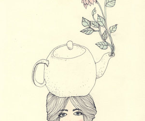 flower, girl, and teapot image