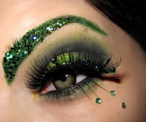 green, eyes, and glitter image