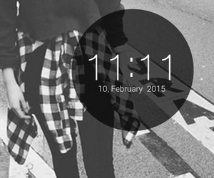 11:11, black and white, and blessing image