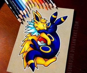colored pencils, pokemon, and umbreon image
