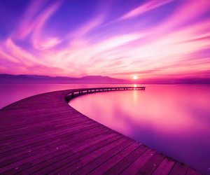 boardwalk, lake, and pink image
