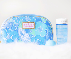 bag, blue, and cosmetics image