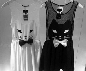 black and white, dress, and cute image