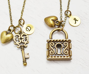 skeleton key, best friend gift, and heart jewelry image