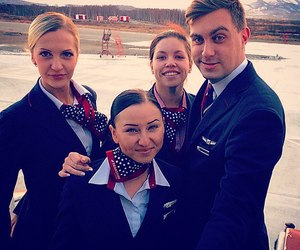 aviation, stewardess, and vintage image