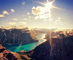 mountain, sun, and water image
