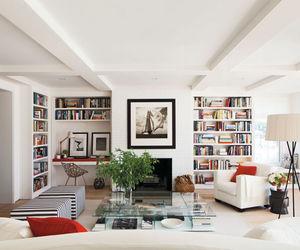 bookshelves, fireplace, and interior design image