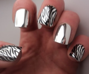 nails, silver, and zebra image