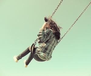 girl, swing, and sky image