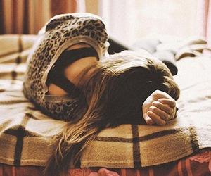 girl, bed, and sad image