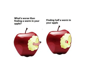 apple, worm, and funny image