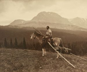 horse, indian, and old photo image