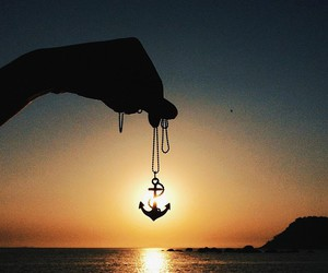 anchor, sunset, and beach image