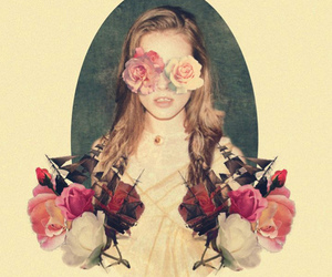 art, girl, and roses image