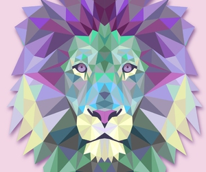 animal, girl, and polygon image