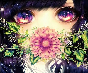 anime, flowers, and eyes image