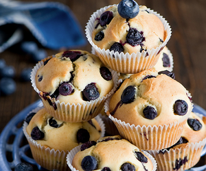 food, blueberry, and muffin image