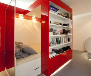 bed, red, and room image