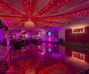 birthday party, chandelier, and decor image