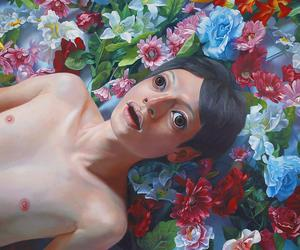 art, boy, and flowerfield image
