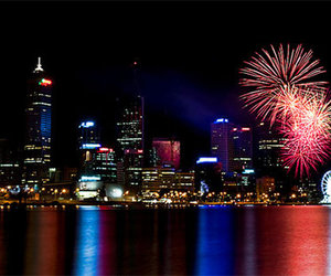 colorfull, fireworks, and lake image
