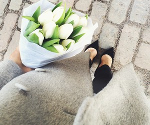 coat, fashion, and flowers image