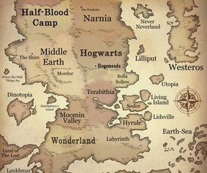 narnia, map, and wonderland image