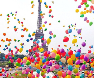 paris, balloons, and colors image