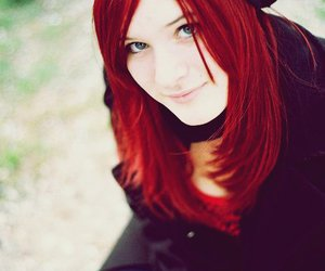 blue, girl, and red hair image