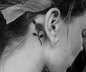 black & white, flor, and tattoo image