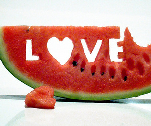 love, watermelon, and fruit image
