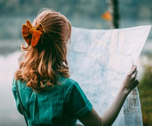 girl, map, and vintage image