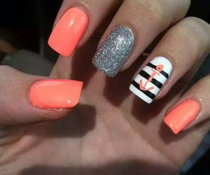 nails, orange, and silver image