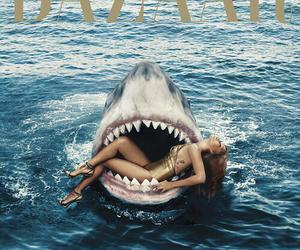 rihanna, shark, and bazaar image
