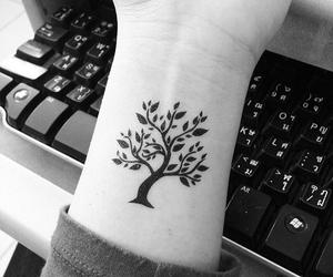 black ink, tattoo, and tree image