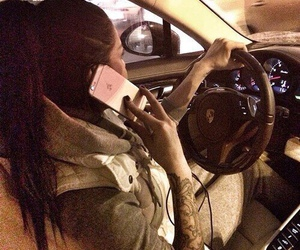 car, girl, and iphone image