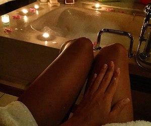 bath, girl, and candles image