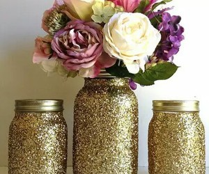 flowers, glitter, and gold image