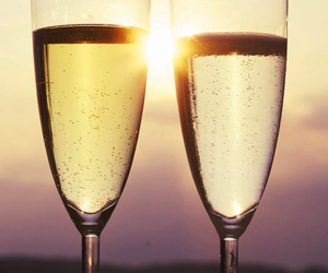 champagne, sunset, and love image