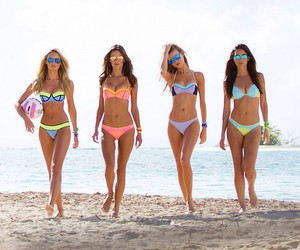 beach, bikini, and model image