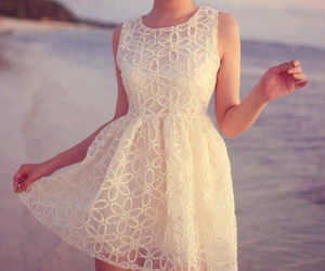 dress, white, and beach image