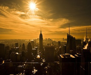 city, new york, and sun image