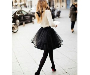 black, red, and skirt image