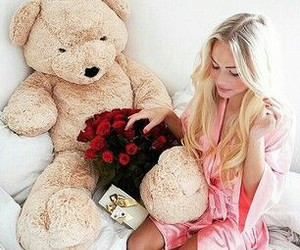 girl, blonde, and rose image